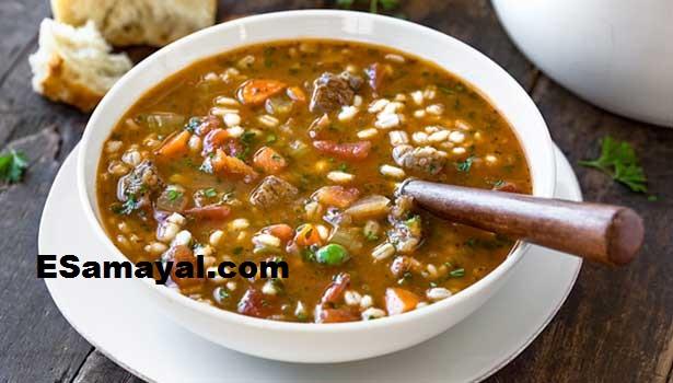 பார்லி - வெஜிடபிள் சூப் செய்வது | Barley - Vegetable soup Recipe !