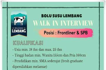 Lowongan Kerja Frontliner & SPB Bolu Susu Lembang