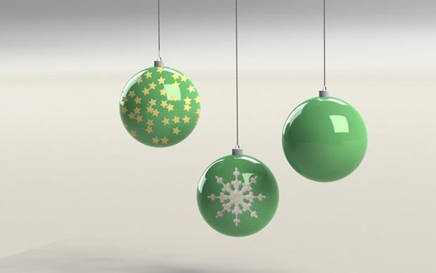 bolas de navidad verdes con solidworks