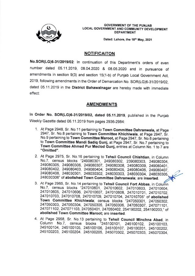 DEMARCATION OF TEHSIL COUNCILS AND ABOLISHED TOWN COMMITTEES OF DISTRICT BAHAWALNAGAR