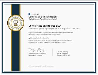Experto SEO Colombiano Linkedin Learning, constancia, certificado, diploma