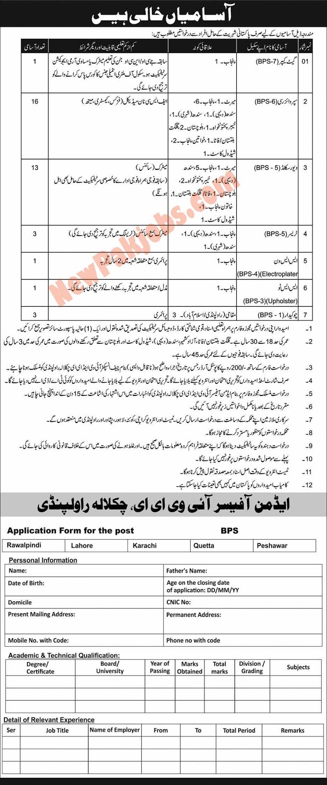 Govt Jobs for Pakistani Nationality Holders in Rawalpindi