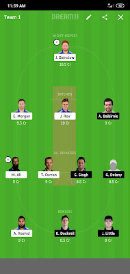 England vs ireland , dream 11 team