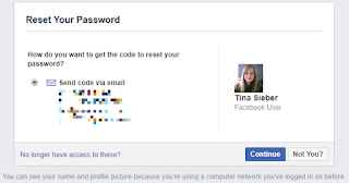 Facebook reset password page