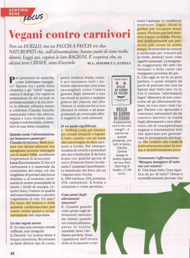 Luca Avoledo e il libro No Vegan sul giornale Confidenze
