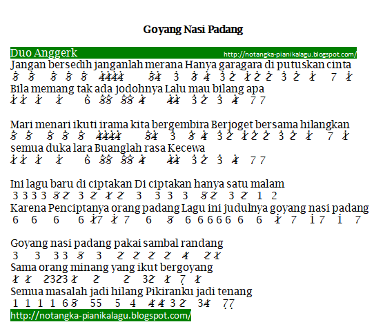 Not Angka Pianika Lagu Goyang Nasi Padang Duo Anggrek