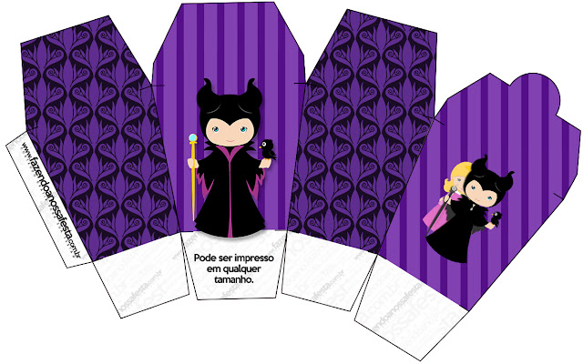 Maleficent Baby Party: Free Printable Boxes.
