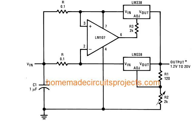 10 amp constant current regulator using LM338 IC