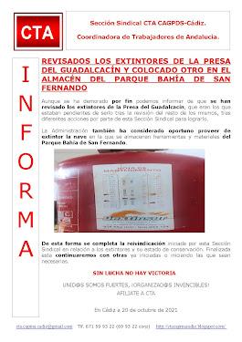 REVISADOS LOS EXTINTORES DE LA PRESA DEL GUADALCACÍN Y COLOCADO OTRO EN EL ALMACÉN DEL PARQUE BAHÍA