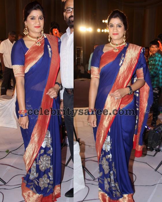 Blue Designer Saree Zari Border