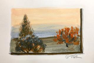 Landscape Sketch, Ultramarine Blue and Cadmium Orange ©2019 Tina M.Welter