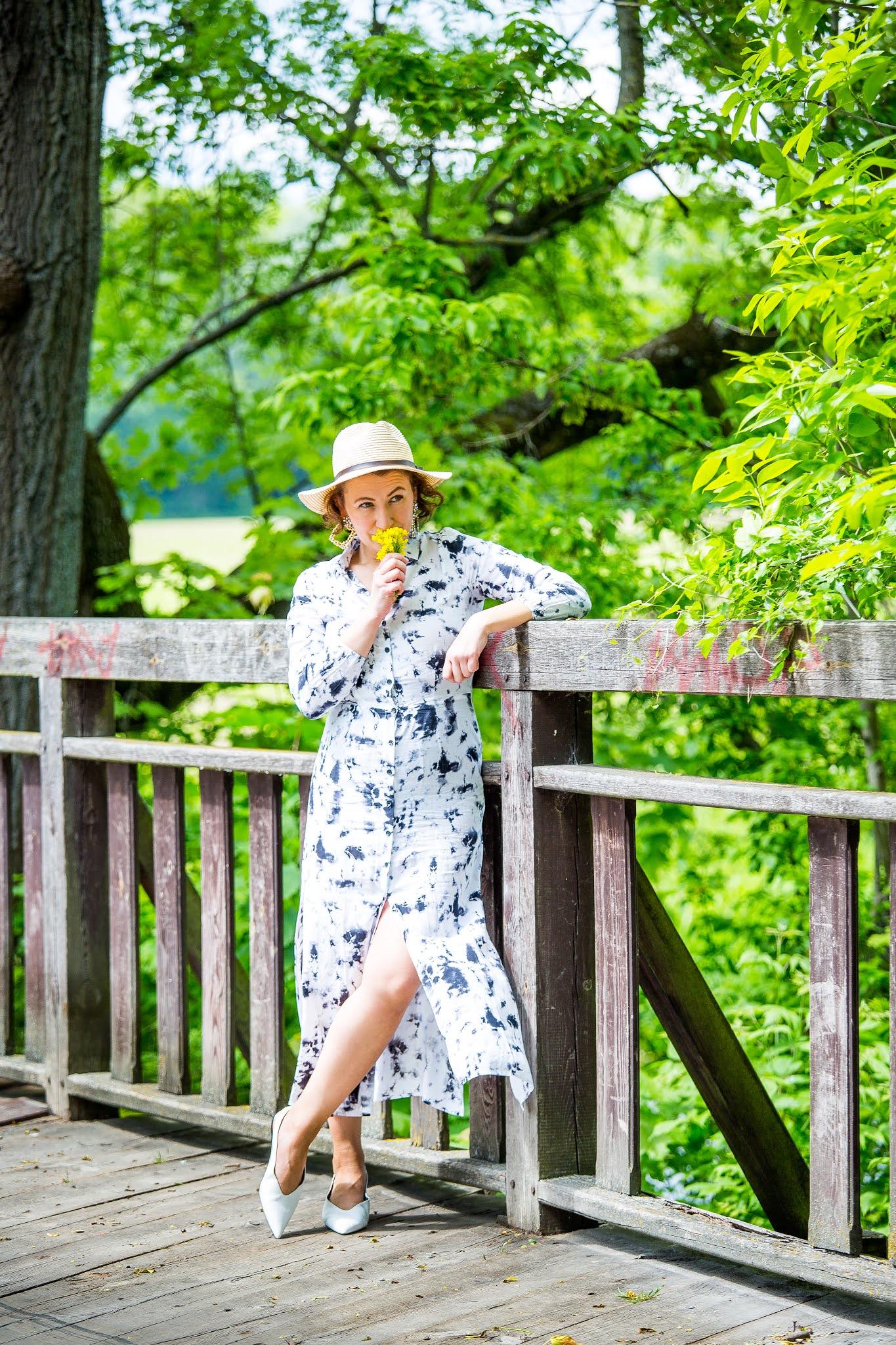 blog modowy Świdnica,Sukienka Midi Sinsay,tie-diy dress,letnia stylizacja,płaskie buty Mango,kapelusz słomiany,wyprzedaż sinsay,Midi dress,moda,fashion,