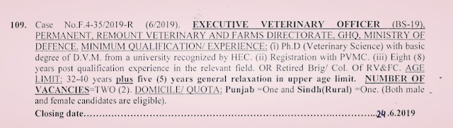 Fpsc Jobs - Current Jobs - EXECUTIVE VETERINARY OFFICERS