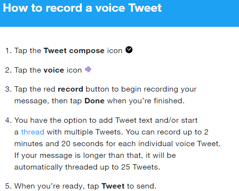 Voice note vn Twitter android ios