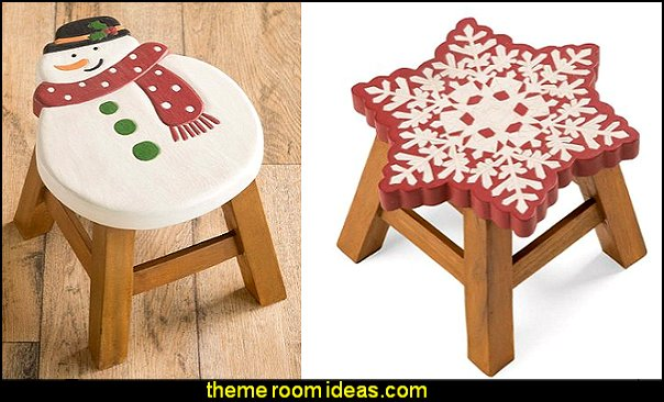 Holiday Design Wooden Footstool