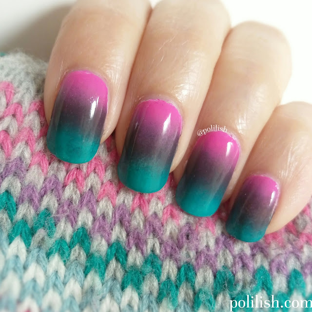 Pink-purple-green gradient nails by polilish