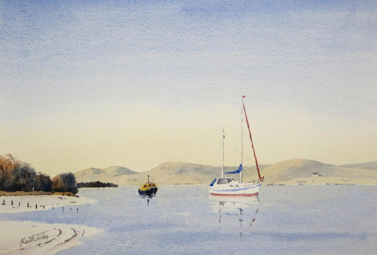 An anchorage on Loch Morar, near Mallaig. An original watercolour of a sailing yacht and sandy beaches, evoking memories of Scottish holidays.