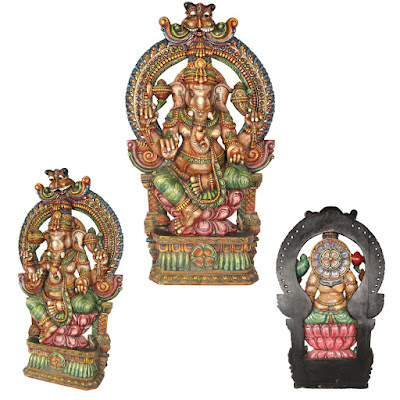 Large Ganesha Seated On Lotus Throne