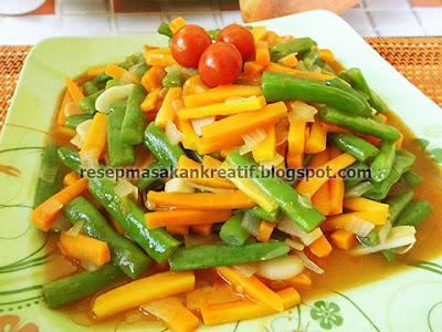 Merupakan perpaduan materi yang harmonis dalam menyediakan sajian kuliner sayur yang enak dan  RESEP TUMIS BUNCIS WORTEL SEGAR