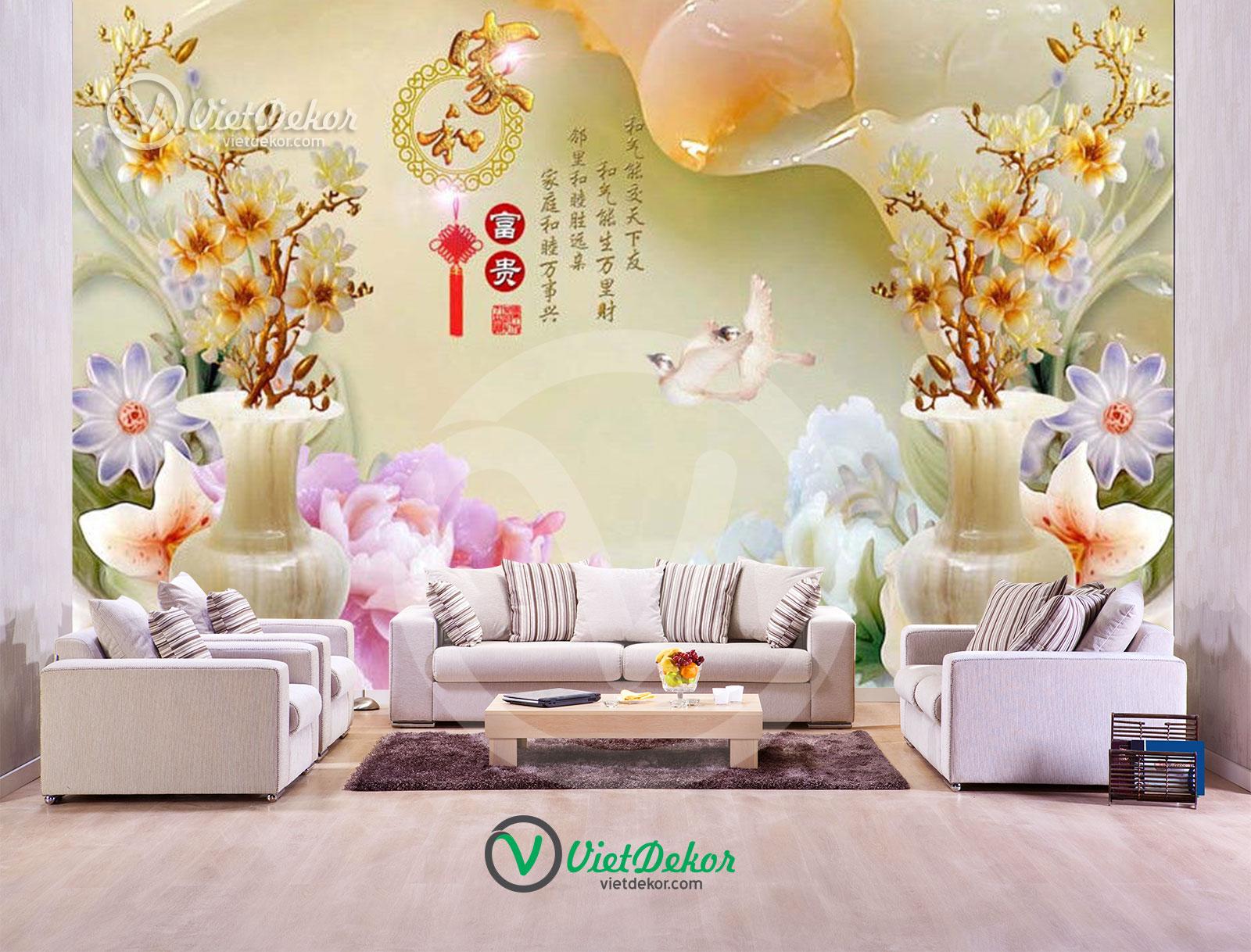 Tranh 3d dán tường hoa phong lan ngọc bích