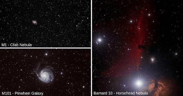 Images from the Cotuit Library Deep-Sky Imaging Workshop - M1, The Crab Nebula imaged on ATEO-2A by R. Morrata, M101 - The Pinwheel Galaxy imaged on ATEO-1 by D. Boyd and Barnard 33 - The Horsehead Nebula imaged on ATEO-1 by M. Thomas.