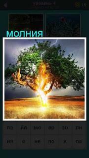 молния ударила в одинокое дерево на равнине 667 слов 4 уровень