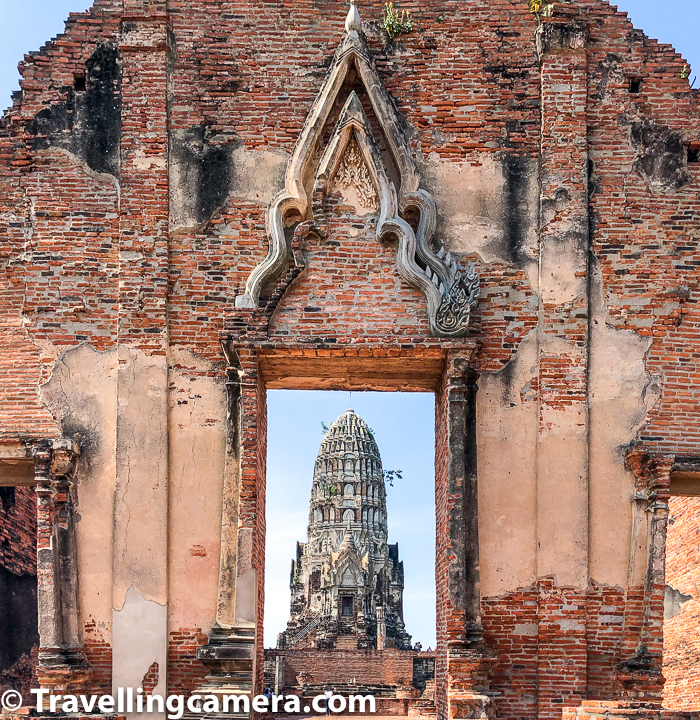Related Blogpost from Bangkok, Thailand - Bangkok Flower Market - Pak Khlong Talat, Thailand  Above photograph shows entry gate of Wat Ratcha Burana in Ayutthaya town of Thailand. Wat Ratchaburana is a Buddhist temple/wat in the Ayutthaya, Thailand. The temple's main prang is one of the finest in Ayutthaya city. Located in the island section of Ayutthaya, Wat Ratchaburana is immediately north of Wat Mahathat. This part of Ayutthaya is also called Ayutthaya Historical Park and you would notice a very different kind of vibe while roaming around few acres of this region, which is full of all these temples.     Related Blogpost from Thailand - Train Journey from Bangkok to Aayutthaya in Thailand
