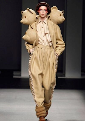 Jacket with 3 Heads of teady bears on fashion runway