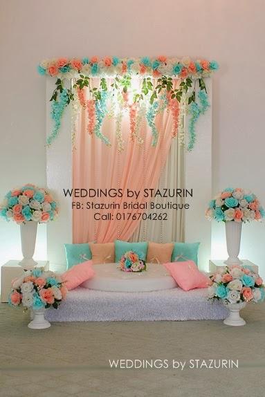 Pelamin Tunang Mini Tema Warna Peach Mint Green Tiffany Pertunangan Jue Taman Sena Seremban Gabungan Pastel 2017