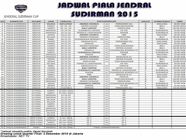 Jadwal Sepakbola Piala Jendral Sudirman