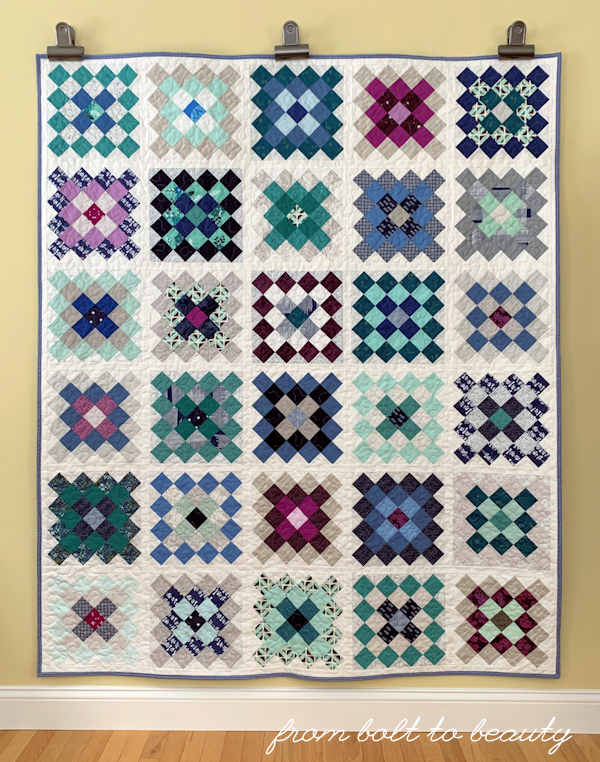 Granny Square Quilt in cool colors