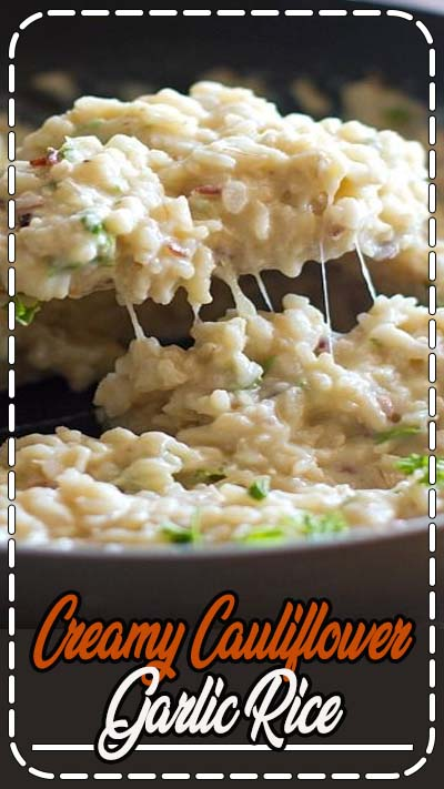 This creamy cauliflower garlic rice is simple, healthy, and so surprisingly good! With garlic, butter, brown rice, and cauliflower.