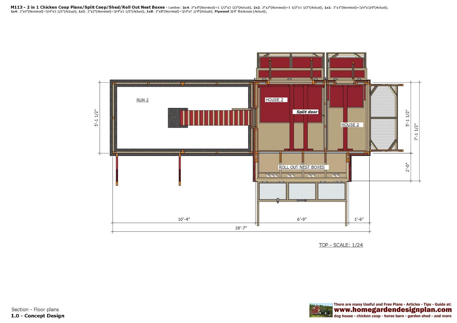 Home Garden Plans M113 2 In 1 Chicken Coop Plans