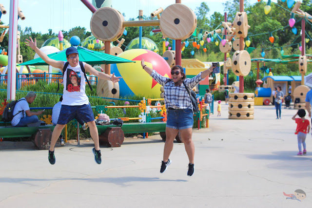 Jump shot in Toy Story Land, Disneyland, Hong Kong