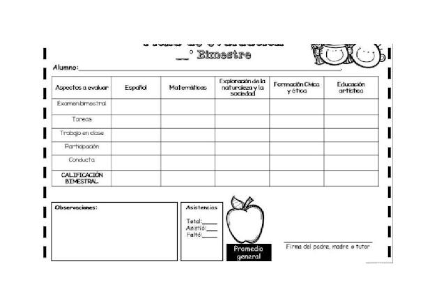 calificaciones,primaria,preescolar,formatos,fichas