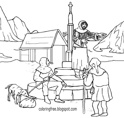 Simple primitive Dark Ages village market live medieval coloring pages for young people to print out