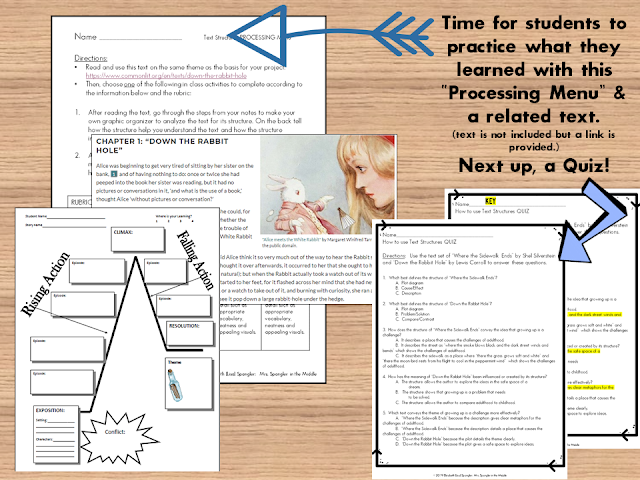 After you have taught the 3 step process for using text structures to analyze text, it's time to practice!  Differentiate the processing with menus!  #middleschool #lesson