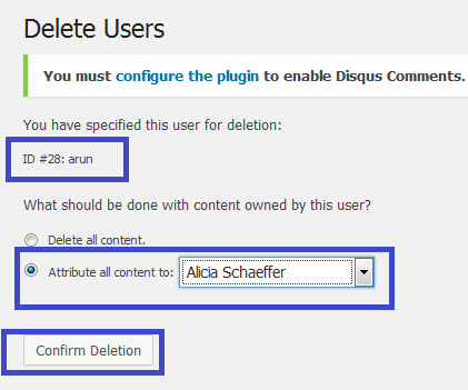 wordpress admin user delete page