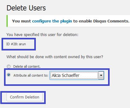 wordpress admin user delete page