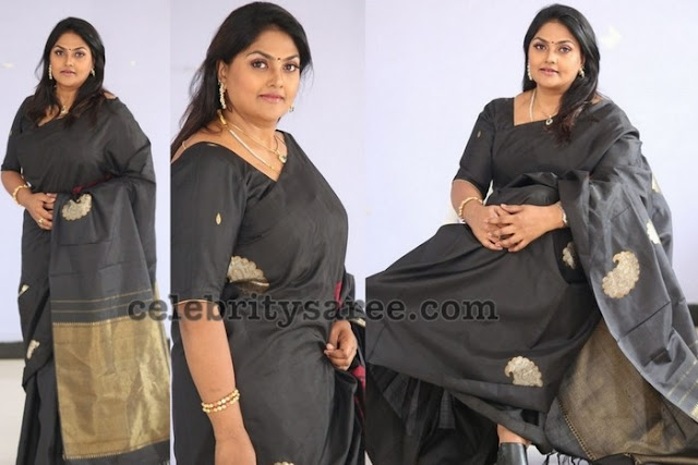 Nirosha in Black Silk Saree