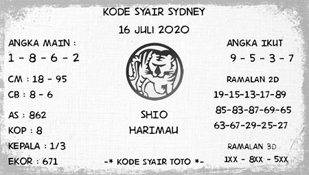 Kode Syair Sydney Kamis 16 Juli 2020