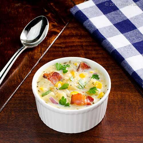 Winter Squash, Corn, and Bacon Chowder