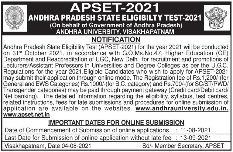 Andhra Pradesh SET Notification 2021