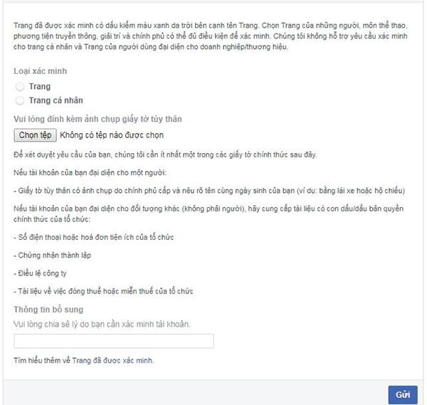 cach xac minh trang facebook 1