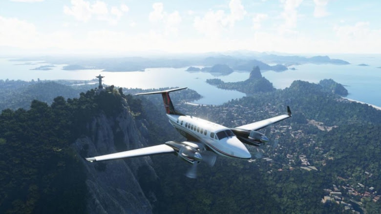 Microsoft Flight Simulator 2020 flying in the sky