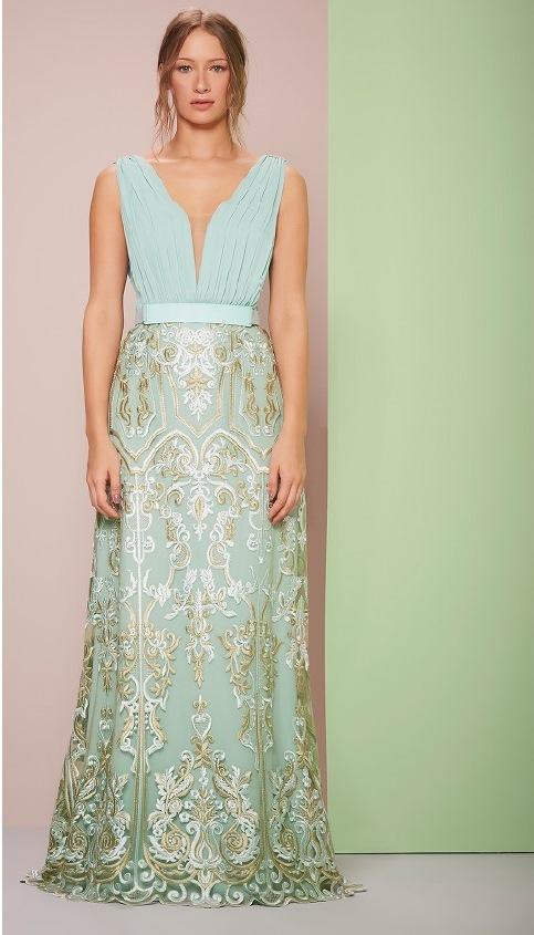 vestido de festa verde claro com renda