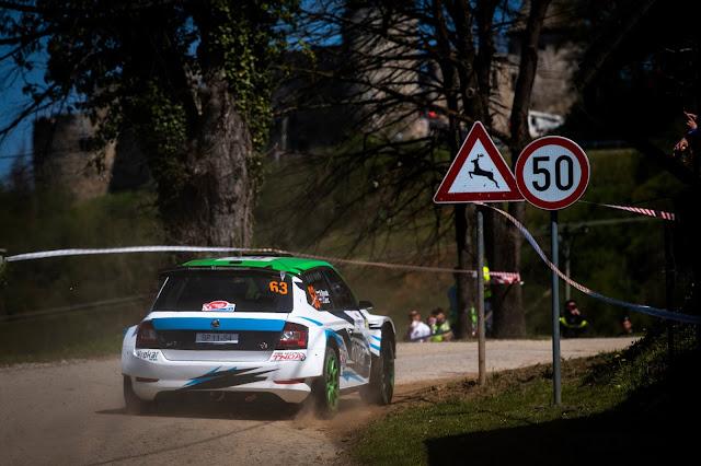 Rally racing car sliding