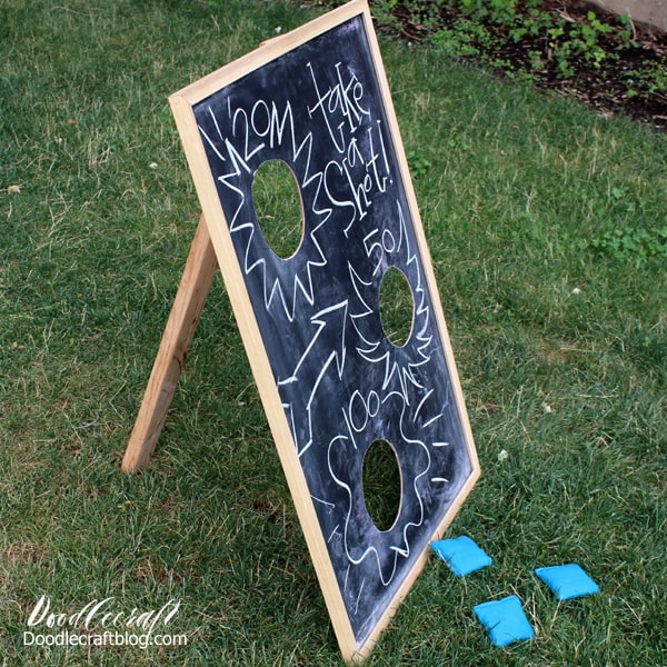 Toss bean bags at this upcycled chalkboard decorated for every holiday or carnival