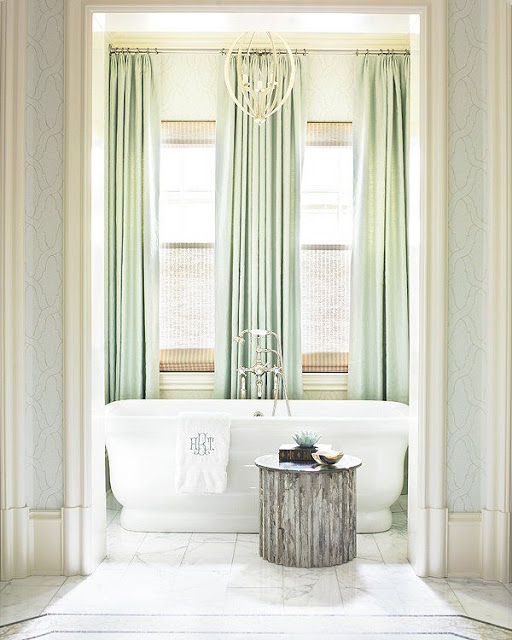 green mint curtains white master bathroom