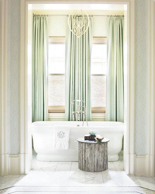 green mint curtains white master bathroom